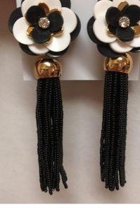 Kate spade black beaded tassel earrings